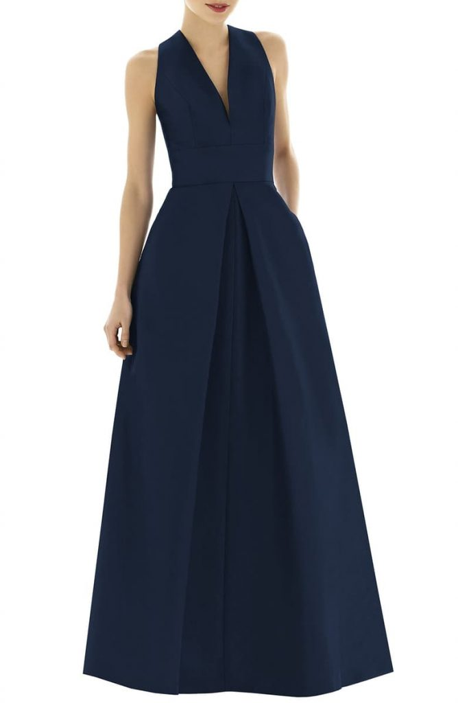 Alfred Sung – V Neck Dupioni Evening Gown 668x1024 - Home