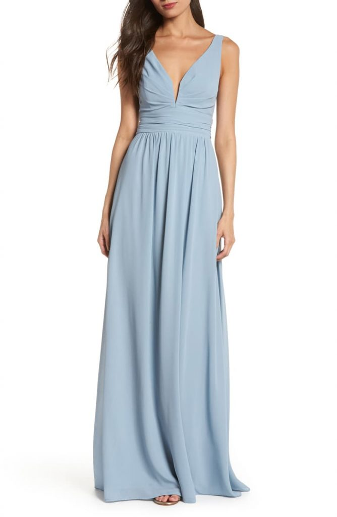 LULUS V Neck Chiffon Gown 668x1024 - Home