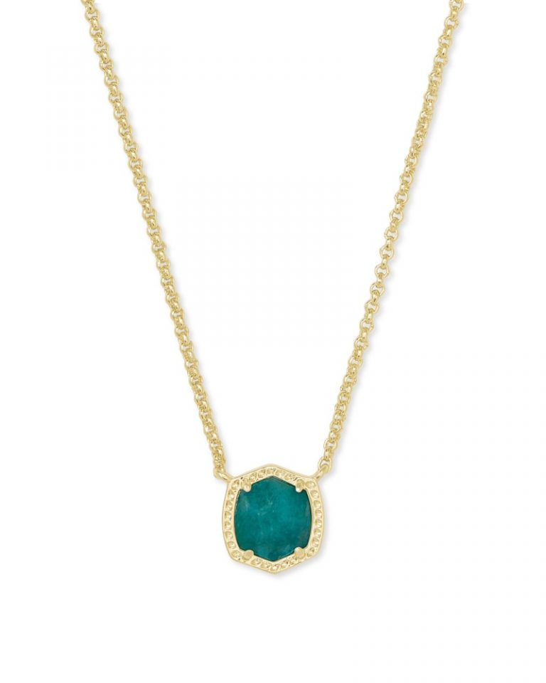 kendra scott davie pendant necklace gold dark teal amazonite 00 lg 768x960 - Necklaces Which Make Her Swoon Without A Hole In Your Pocket